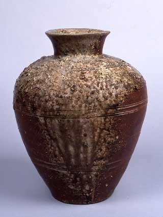 自然釉三筋壺