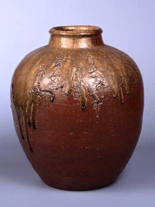 自然釉壺 慶長拾八年二月吉日 上右衛門 源十郎銘